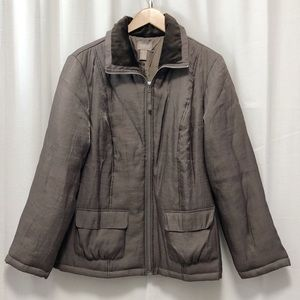 Chico's Fiona Cozy Collar taupe puffer jacket L